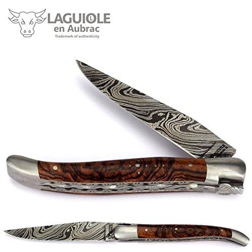 Laguiole en Aubrac 12 cm Damast Taschenmesser - Eisenholz Wurzel - Doppelplatine - Messer Frankreich