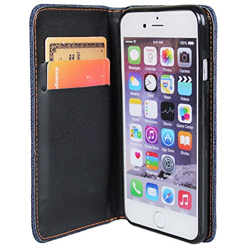 xhorizon TM ZY Hybrid Jean Cuir / Couverture Denim Wallet Portefeuille Case Cover Credit / ID Carte Slots & Cash Titulaire Etui Coque Housse pour Apple iPhone 5 / 5s iPhone 6 Vert