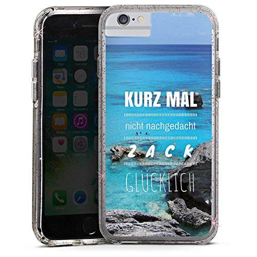 Apple iPhone 7 Plus Bumper Hülle Bumper Case Glitzer Hülle Happiness Phrases Sprüche Bumper Case Glitzer rose gold