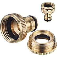 2 Pack Brass Garden Hose Tap Connector, 1/2 Inch and 3/4 Inch 2-in-1 Female Threaded Faucet Adapter