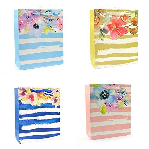 Gifts 4 All Occasions Limited SHATCHI-589 - Juego de 4 bolsas de papel con purpurina (tamaño mediano, para cumpleaños, bodas, regalos de Navidad), multicolor