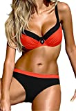 Aitos Bikini Damen Sets Badeanzug Push Up Sexy Bademode Zweiteiler Vintage Swimsuits Swimwear Beachwear Sommer Strand Orange S