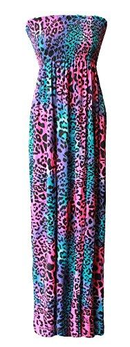 Ladies Floral Print Bandeau Boobtube Sheering Maxi Dress EUR Taille 36-54 Multi Animal