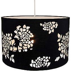 Coton noir moderne découpé au laser décoration florale pendentif plafond ou abat-jour par Happy Homewares