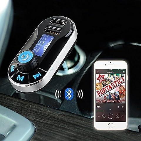 Fone-Case (Black) HTC Desire 630 5 in 1 auto ogni connessione Aircast Auto Trasmettitore FM senza fili universale Car Kit modulatore del trasmettitore del giocatore di musica radio, supporto SD / TF, caricatore per auto dual USB,Chiamate in vivavoce e controllo della musica.