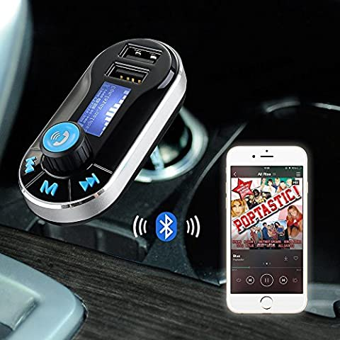 Fone-Case 5 in 1 In Car Aircast Auto FM Transmitter Wireless Bluetooth Connection Universal Car Kit Modulator with Music Player Radio Transmitter, Support SD/TF Card,Dual USB Car Charger,Hands-Free Calling and Music Control. pour LG K4 (2017)