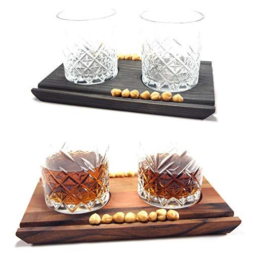 Deluxe Cocktail Gläser inkl. Servierbrett • Whiskey Gin Servier Brett -