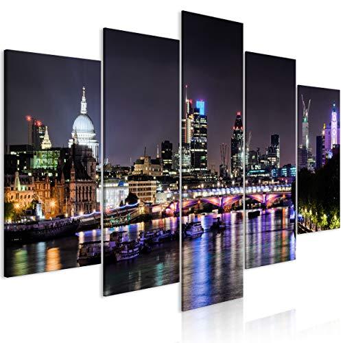 decomonkey Akustikbild London Stadt 200x100 cm 5 Teilig Bilder Leinwandbilder Wandbilder XXL...