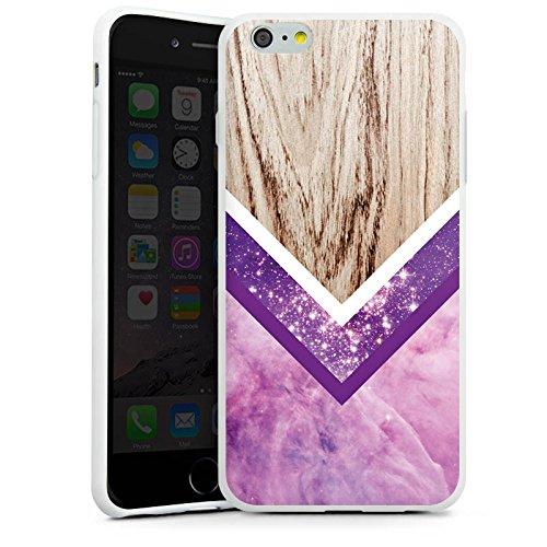 Apple iPhone X Silikon Hülle Case Schutzhülle Holz Look Glitzer Hipster Muster Silikon Case weiß