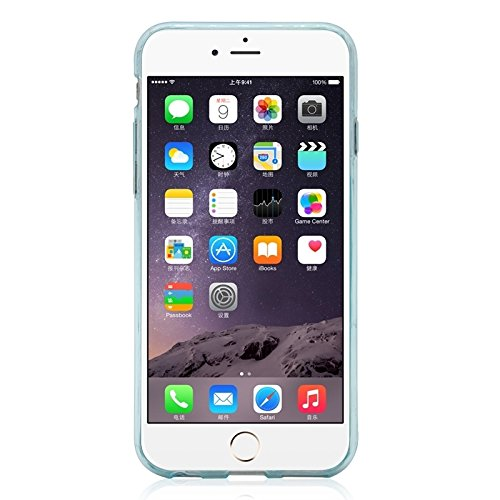 Phone case & Hülle Für IPhone 6 Plus / 6S Plus, Ultrathin TPU Schutzhülle mit Kartensteckplatz ( Color : Transparent ) Blue