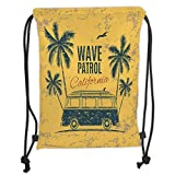 Drawstring Backpacks Bags,Surf,Retro Surf Van with Palms and Gull Good Old Days...