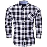 Brave Soul Herren Langärmelig Kariert Lumberjack Gebürstete Baumwolle Shirt Rot , Blau Weiß - Weiß kariert schwarz - Brave Soul kariert Indie, XL