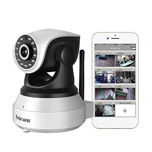 Sricam telecamera di sorveglianza 720p wireless, obiettivi ruotabile, audio bidirezionale, modalità notturna a infrarossi, controllo remoto, compatibile con ios e android e pc