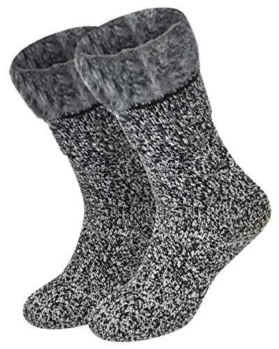 Voqeen Hombre calcetines de invierno calcetines calientes elásticos suave cálidos de calcetines (Gris)