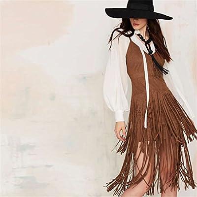QIYUN.Z Vestido Retro estilo vaquero de tirantes y flecos