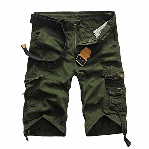 MOIKA Herren Casual Cargoshorts, Herren Arbeiten Sie zufällige Taschen-Strand-Arbeits-zufällige Kurze Hosen-Kurze Hosen der Männer Um Lässige Vintage-Stil-Cargo-Shorts(XXL,Armeegrün) (Carhartt Kurze Herren Arbeit)