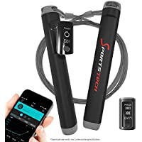 Preisvergleich für Sportstech Profi Springseil RJX500 mit Smartphone App und Bluetooth 2in1 Tracker – High-Speed Rope perfekt für Fitness-Training, Crossfit, Boxen und Abnehmen, elektronisches Sprung-Seil