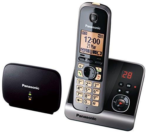 Panasonic KX-TG6761GB Schnurlostelefon mit DECT Repeater für verbesserte Reichweite, Telefonverstärker, schwarz