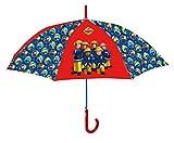 Feuerwehrmann Sam Regenschirm für Kinder, 100% POE, sehr robust - ideal für Ausflüge geeignet, Durchmesser 76cm