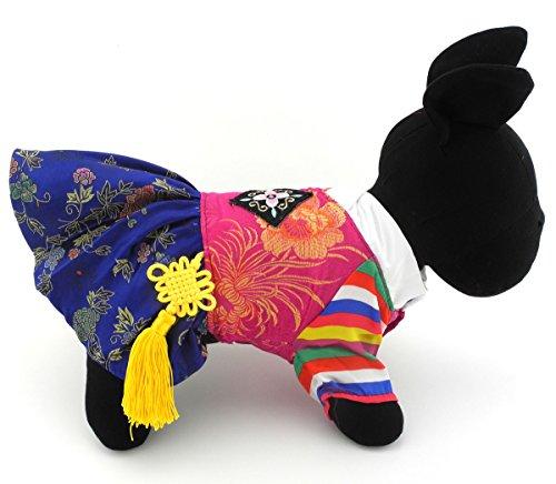 zunea traditionellen koreanischen koreanische Tracht Kostüm für kleine Hund Katze Halloween bestickte Seide, PET PUPPY Coat Jumpsuit Kleidung Kleidung, Outfits Apparel (Rosa Piraten Pet Kostüme)