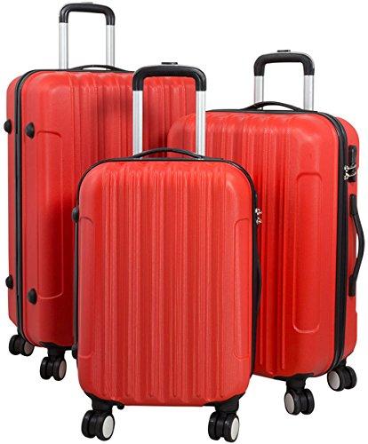 Hartschalen Koffer Trolley Reisekoffer Reisetrolley Handgepäck Boardcase Vigo 3tlg. (Rot)