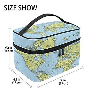 Organizador de almacenamiento de tocador y bolsa de maquillaje, cosméticos de impresión de mapa de mundo tamaño grande mango de viaje personalizado funda con compartimentos para Teenage niña mujer Lady