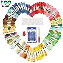Hilos de bordado Ratel, 100 madejas de punto de cruz de color arcoíris con 4