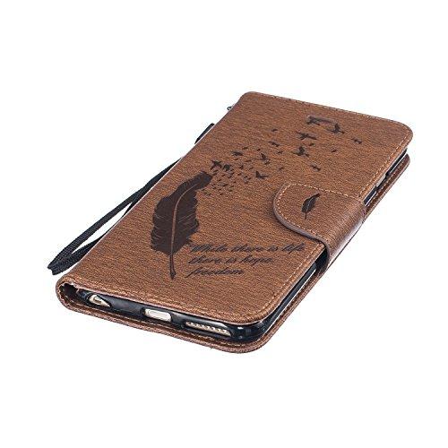 Feeltech Apple iPhone 6 Plus 6s Plus 5.5 Inch Bookstyle Étui en Cuir Case à Rabat Magnétique Fermeture Coque de Protection avec Porte Carte et Stand, Ultra Slim Portefeuille Motif Case Cover pour Appl Oiseaux Plumes-Marron