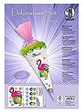 Dekorationsset Flamingo, 4 Bogen Bastelkarton DIN A4, beidseitig bedruckt, vorgestanzt, genutet, zum Dekorieren einer Schultüte, teilweise veredelt, mit Satinband