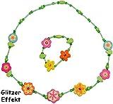 Unbekannt 2 tlg. Set Kette + Armband - für Kinder aus Holz - Schmuck / Holzkette Perlenkette - grün & pink - Blumen Mädchen - Kinderkette Mädchenkette - Kleinkinder