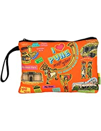 Eco Corner - I Love Pune - Pouch - Big - 100% Cotton/Washable/Printed On Both Sides/Zip Closure With Carry Handle...