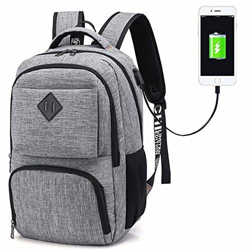 Hotchy Rucksack Herren Laptop Business Rucksack 15.6 Zoll Schulrucksack Oxford mit USB-Ladeanschluss und Sicherheitsschloss für Reisen Arbeiten Wandern Camping