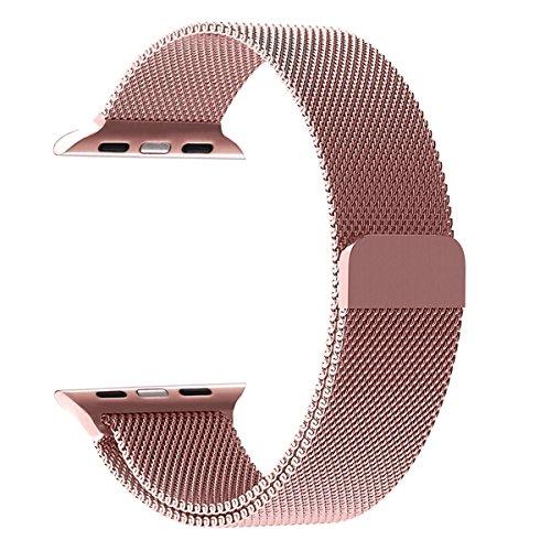 BeYself Apple Watch Band 38mm,Apple Watch Correa con Cerradura Imán Único Milanese Loop Correa de Acero Inoxidable Reemplazo Adecuado para Serie 3 / 2 / 1 - Rose Golden