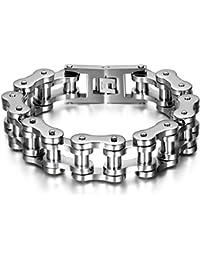 JewelryWe Men Jewellery Bracelet, HERRS Chsüchtige Large Wide Heavy Biker Black Silver Tone Friendship Bracelet (Surf, Surfer Style Wristband Stainless Steel Bangle
