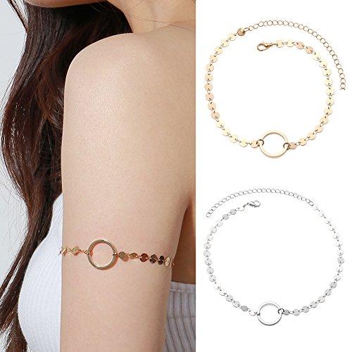 dontdo Oberarm-Kettenarmband für Mädchen, schlichter Modeschmuck, Party-Accessoire, rund, einzeln, Damenschmuck