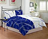 #6: Bombay Dyeing Sestina 144 TC Cotton Double Bedsheet with 2 Pillow Covers - Blue