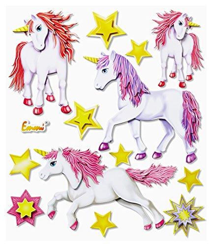 Stickerkoenig 3D Sticker XXL Wandtattoo Kinderzimmer Wandsticker - fabelhafte niedliche Einhörner Einhorn
