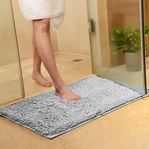DOTBUY Bad-Teppiche, Chenille Anti-Rutsch-Bequeme Super saugfähiger weicher Duschteppich Dusche Teppich Badematte Bad Teppich (60 * 90cm, Grau) - Natur-badezimmer-teppich