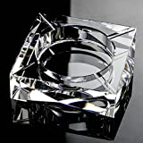 Rollsnownow Glas transparent modischer Aschenbecher Außendurchmesser 15 * 15 * 3 cm, Innendurchmesser 10 * 10 * 2,5 cm