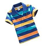 YouPuer Kinder Gestreift Polo Shirt Für Mädchen und Jungen Sommer T-Shirt Kurzarm Revers T-Shirts