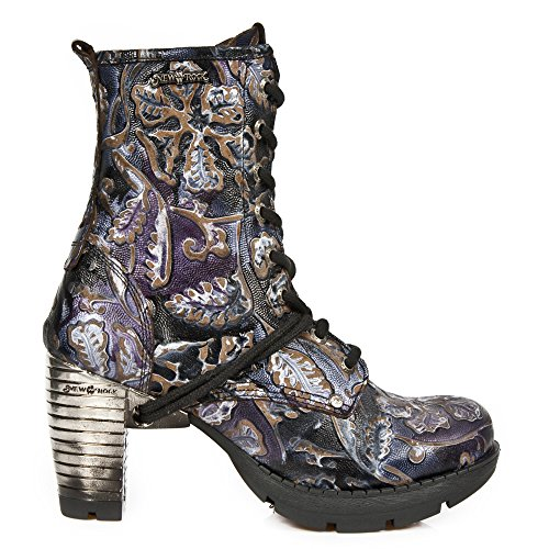 New Rock Womens Vintage Flower Leather Boots Purple