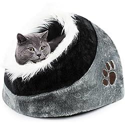Todeco - Cueva para Animales de Peluche, Casa del Gato - Material: Esponja suave - Accesorios: (1x) Cojín extraíble - 41 x 38 x 26 cm, Gris