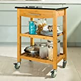SoBuy® Bamboo Kitchen Trolley Kitchen Cart with Black Granite Countertop, Drawer and 2 Shelves, FKW28-SCH