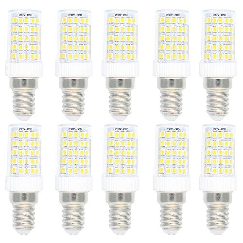 10 Stück 10W E14 LED Dimmbar Lampe Leuchtmittel Glühbirne Energiesparlampe Halogenersatz Leuchte mit 86 SMD 2835 ,Kaltweiß 6000K 800 Lumen,360 Abstrahlwinkel AC 220-240V (Geringer Energie Mini-kühlschrank)