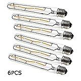 OUGEER 6er Edison Vintage Röhrenlampe E27 4W T30-225 Reagenzglas Flöte Glühlampe Rohr,AC 220-240V,E27 T30 LED Filament Glühbirne Warmweiß(2700K)