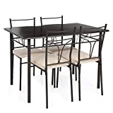 Table Set Chairs 4 Person iKayaa Breakfast Dining Compact Kitchen Bistro Set Furniture