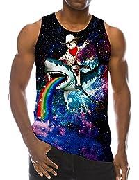 7a9e74150 RAISEVERN Funny 3D Printed Tank Tops Mens Summer Sleeveless Vest T-Shirt