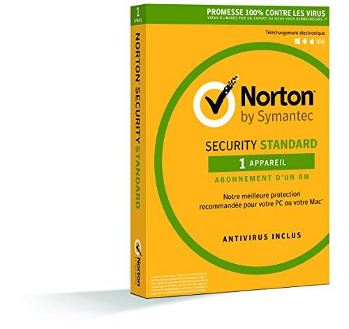Symantec - Norton Security Standard 2018 | 1 An | 1 Appareil | PC/Mac/Android/iOS | Téléchargement