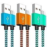 Cable Micro USB Carga Rapido YOSOU Cargador Android Trenzado de Nylon [1M,3Unidades] - GARANTÍA DE POR VIDA - Sincro y Carga USB para Dispositivos Android, Samsung Galaxy, Kindle, Sony, Nexus y Más