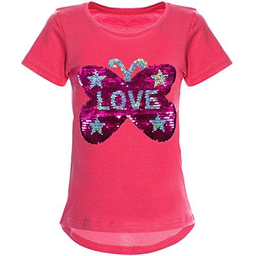 BEZLIT Mädchen Wende-Pailletten T-Shirt Tollem Schmetterling Motiv 22032 Pink Größe 152 (Pailletten Langarm-shirt)